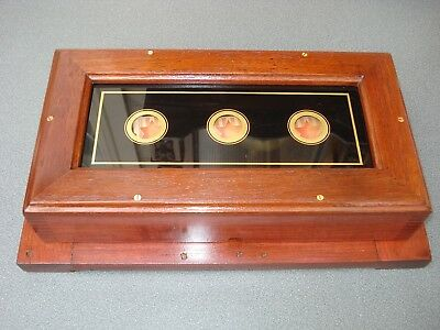 Mahogany Stained 3 Way Butlers Servants Call Flag Indicator Box