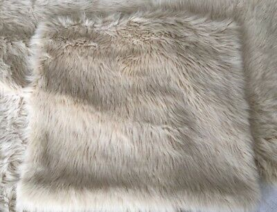 DUNELM MILL FUR FAUX 4 CREAM BEIGE SQUARE SCATTER CUSHION COVERS 18 in.48cm VGC