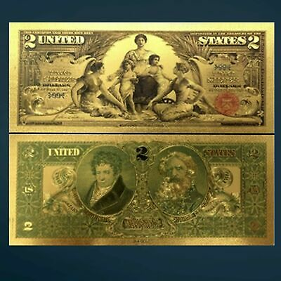 24K Gold Foil Plated 1896 $2 Dollar Bill Banknote Currency Gold Novelty Money