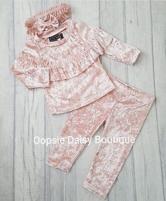 ☆ Girls Pink Crushed Velvet Look Lounge Suit & Headband Set Age 3mth upto 3yrs ☆
