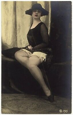 1910 Original French Tinted RPPC Nude Girl Delicate Beauty Lingerie Stockings