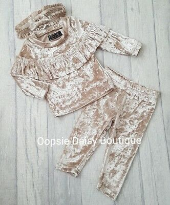 ☆ Girls Champagne Crushed Velvet Look Lounge Suit & Headband Age 3mth upto 3yrs☆