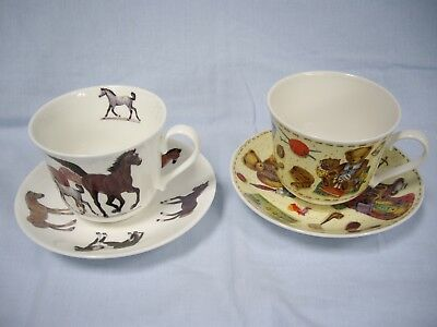 2 Roy Kirkham Large Cups & Saucers-Home Sweet Home 1998/Horses