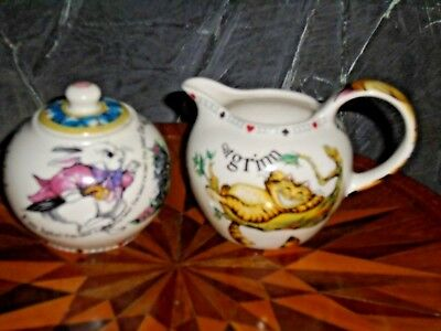 Cheshire Cat Mad Hatter-Tea Party Creamer & Covered Sugar-Paul Cardew