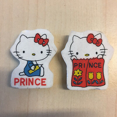 PRINCE - HELLO KITTY 2 gomme vintage 80s , eraser rubber gommine