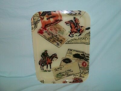 Western Themed Plastic Serving Tray Pony Express & Overland Stage