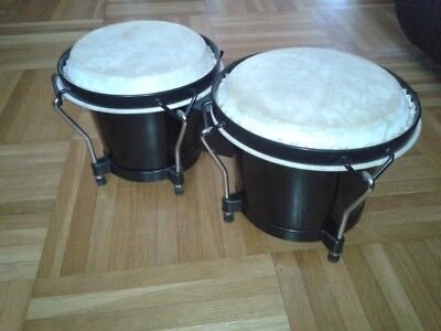 Bongo Trommel Percussion Congas Drum Naturfell Holz Musikinstrument