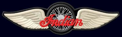 """Indian Winged Wheel Embroidered Patch ~6-1/8"""" x 1-3/4"""" Motorcycle Scout Chief V2"""