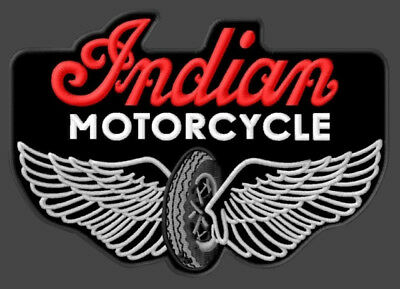 """Indian Motorcycle Embroidered Patch ~4-7/8"""" x 3-1/2"""" Winged Wheel Scout Chief V2"""
