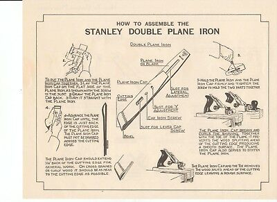 """Vintage 1935 STANLEY TOOL CHARTS """"How To Use Plane Irons & Double Plane Irons"""""""