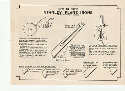 """Vintage Antique 1935 STANLEY TOOL CHARTS """"How To Grind Stanley Plane Irons"""""""