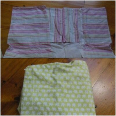 POTTERY BARN KIDS *Lot of 2* Organic Elephant Fitted Sheet & Stripe Bed Skirt