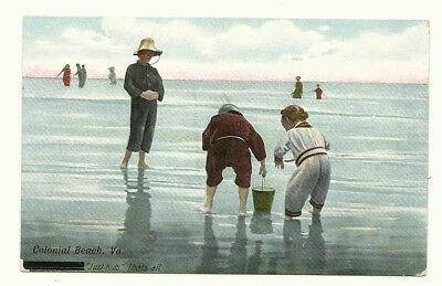 """Colorful Early Colonial Beach Virginia Water Scene - """"just Kids  That's All"""""""