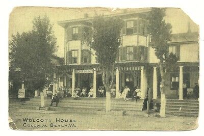 Early Colonial Beach Va View Of The Wolcott House Hotel -  Sign For Post Cards