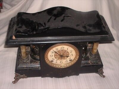 Scarce Seth Thomas Adamantine Mantle Clock Scalloped Top