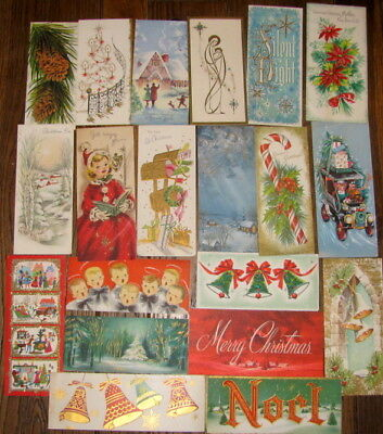 Lot Of 20 Tall Vintage Christmas Greeting Cards Glitter Deer Mailbox Automobile