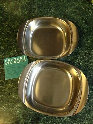 Two WMF Fraser's 18/8 Stainless Cultura Square Bowls - Sweden