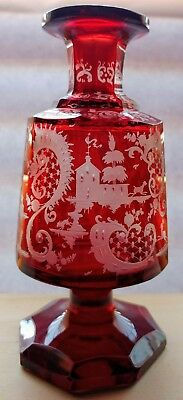 Signed Egermann Bohemian Red Cut-to-Clear Glass Perfume Bottle Stag & Castle