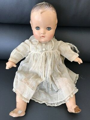 Beautiful VTG Antique Madame Alexander Composition Baby Doll Sleep Eyes + Dress