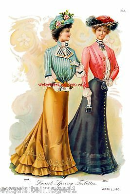 1901 Fashions~Delineator~Toilettes2 NEW Lg Note Cards