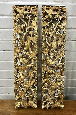 Antique Pair Carved Gilt Wooden Panel Chinese Figures Qing Dynasty China Shellac
