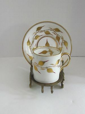 Royal Chelsea DEMITASSE Cup and Saucer With GOLD LEAVES
