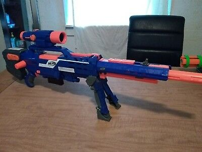 Nerf N-Strike Long Strike CS-6 Sniper Rifle Gun Bi-Pod Clip Scope