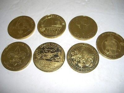 Collection Of Brass Boy Scout Challenge Coins, Council / Norman Rockwell