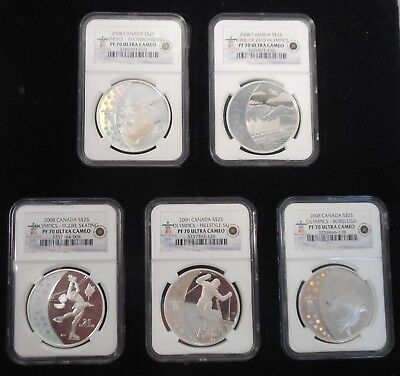 2008 Canada Vancouver 2010 Winter Olympics $25 Silver Proof 5 Coin Set NGC MS70