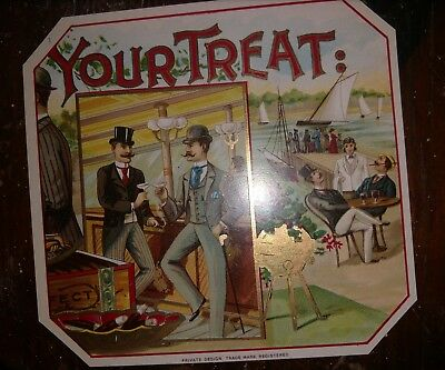 YOUR TREAT outer CIGAR BOX LABEL Scarce 1920s ORIGINAL men toasting sailboats