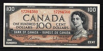 Canada - 1954 Bank of Canada 100 Dollar Banknote P82b/BC-43b  XF Condition
