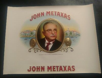 JOHN METAXAS INNER CIGAR BOX LABEL 1941 GREEK POLITICIAN scarce