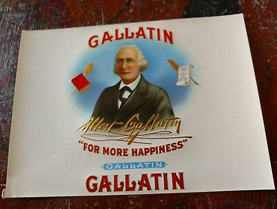 Gallatin Cigar Box Label Inner 1929-1940 Secretary Of Treasurer 1801-1813
