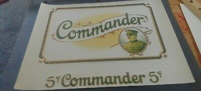 COMMANDER 5¢ CIGAR BOX LABEL 1930s MILITARY THEME GENERAL PERSHING?