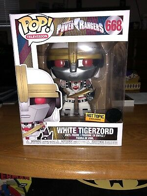 Funko Pop! Tv Power Rangers White Tigerzord #668 Hot Topic Exclusive In Hand
