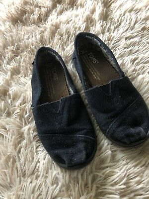 Toms Flat Shoe Black Canvas girl Youth Size 12