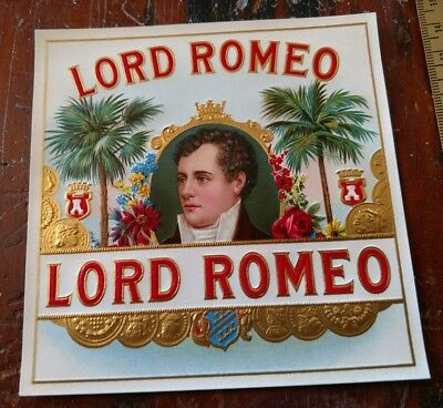 LORD ROMEO OUTER CIGAR BOX LABEL Embossed