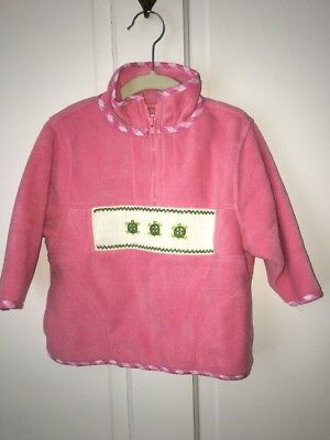 Emily Lacey Size 2-4 Smocked Turtles Fleece 1/2 Zip Pull-Over Pink Jacket