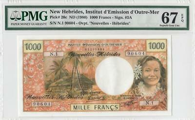 1980 **new Hebrides** 1000 Francs French (( Pmg 67 Epq ))
