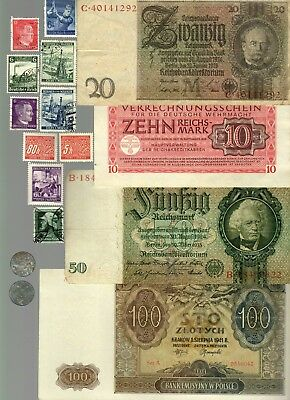 Nazi Germany Banknote, Coin And Stamp Set   # 68