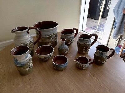 CAROLINE SMITH, ABBOT STUDIO POTTERY.  10 piece set
