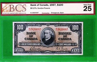 Canada - 1937 Bank of Canada 100 Dollars Banknote P64b/BC-27b  BCS25 Very Fine