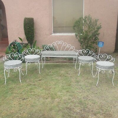 VINTAGE PATIO - MiD CENTURY SET OF 6 SHABBY IRON SEATING - RECOVERED