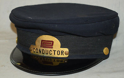 Vintage PC Penn Central Railroad Hat with Conductor Badge - Original