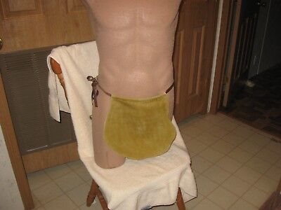 """Real cowhide loincloth tan color with Brown leather strip 13"""" long item 033"""