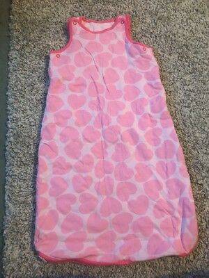 Mothercare Baby Girls Pink Hearts Sleeping Bag 2.5 Tog 0-6 Months 0-3 3-6