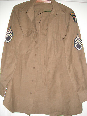 WW2 101st AIRBORNE 506th PARA INF REGT WOOL SHIRT & INSIGNIAS ID'd/NUMBERED NCO