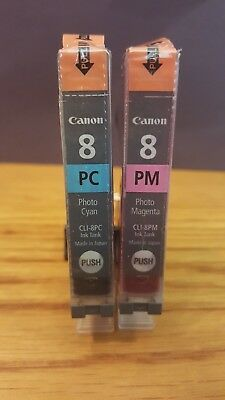 Genuine Canon Oem Ink~Cli-8Pc/pm~Photo Cyan~Photo Magenta~Sealed Wrappers~2 Pack