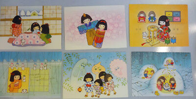 Cartoon Kimono Girls Dolls Kittens 1970's? Japan 6 Vintage Japanese Postcards