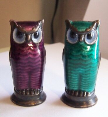 Unique David Andersen (Norway). enamel sterling salt and pepper set owls cute